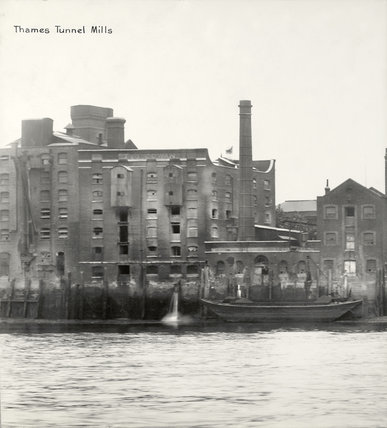 Thames Riverscape showing Thames Tunnel Mills: 1937