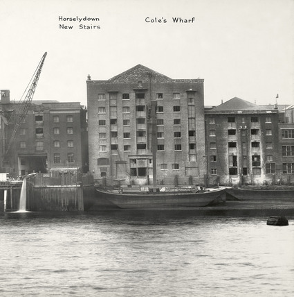 Thames Riverscape showing Horselydown New Stairs and Cole's Wharf: 1937