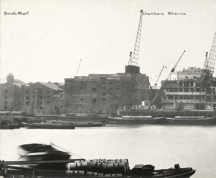 Thames Riverscape showing Bond's Wharf and Chambers Wharves: 1937