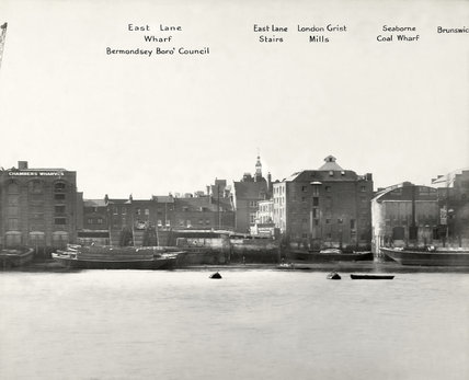 Thames Riverscape showing East Lane Wharf, Bermondsey Boro' Council, East Lane Stairs, London Grist Mills and Seaborne Coal Wharf: 1937