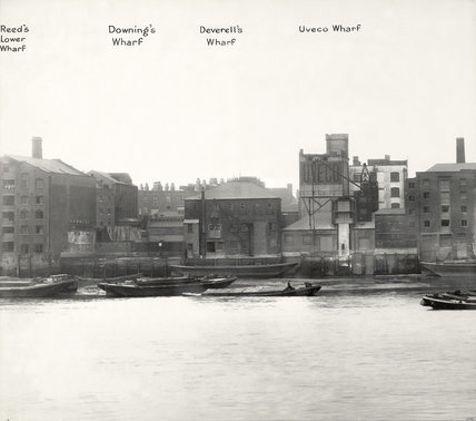 Thames Riverscape showing Reed's Lower Wharf, Downing's Wharf, Deverell's Wharf and Uveco Wharf: 1937
