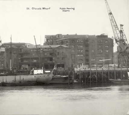 Thames Riverscape showing St.Olave's Wharf and Pickle Herring Stairs: 1937