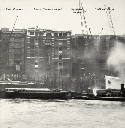 Thames Riverscape showing Griffin's Wharves, South Thames Wharf, Battlebridge Stairs and Griffin's Wharf: 1937
