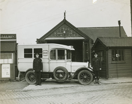 PLA motor ambulance, Royal Docks: c. 1930