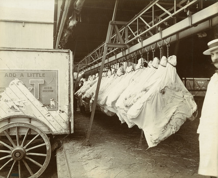 Canadian produce at Surrey Docks warehouse: c. 1920