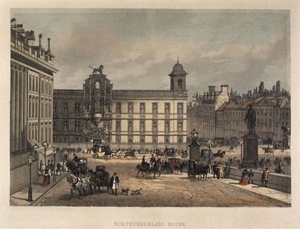 Exterior view of Northumberland House, Strand; 1866-1875