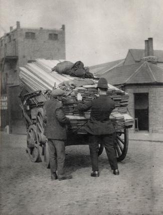 Policeman searching timber: 1930