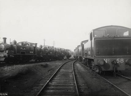 PLA locomotives at Royal Docks: 1954