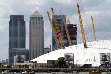 View of Canary Wharf and the Millennium Dome