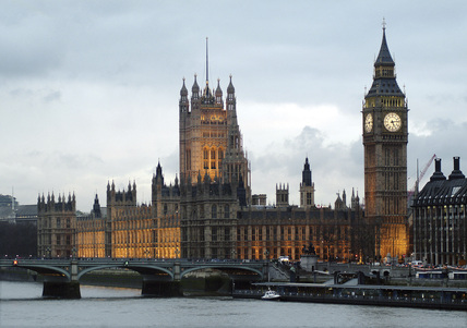View of The Houses of Parliament from the South Bank.