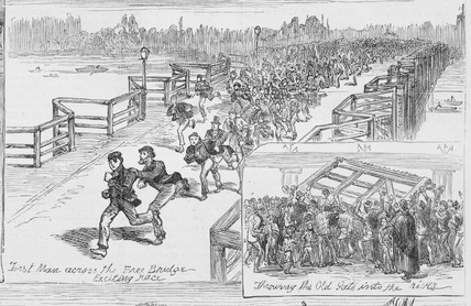 First man across the free bridge: 1880