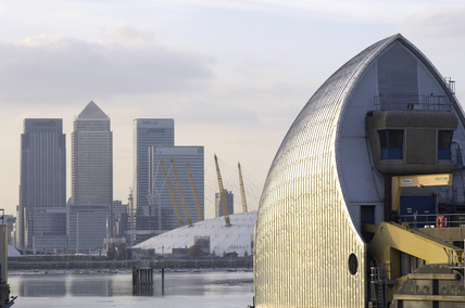 The Thames Barrier looking across to Canary Wharf; 2006