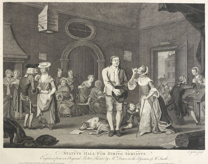 Engraving depicting a 'Statute Hall for Hiring Servants'; 1770