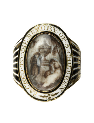 A gold and enamel mourning ring; c 1800