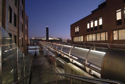 Night view of The Millennium Bridge towards The Tate Modern; 2007