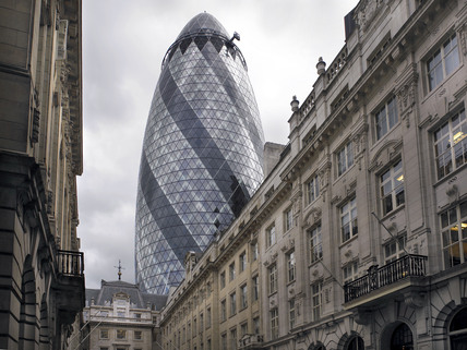 30 St Mary Axe, also known as the Gherkin or the Swiss Re Building
