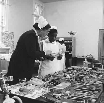 Two nurses at The  Whittington Hospital Highgate: c. 1954