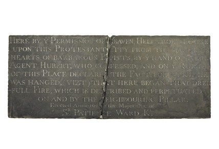 Anti-Catholic inscription where the Great Fire started: 1681