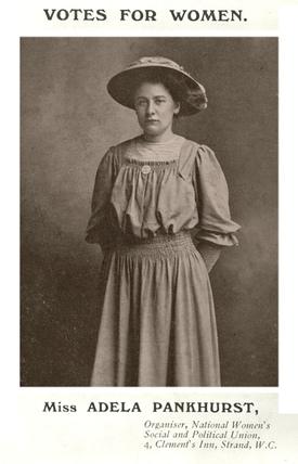 Photographic postcard of Adela Pankhurst: c.1908