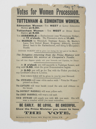 Handbill calling upon women to join a Votes for Women procession: 1906