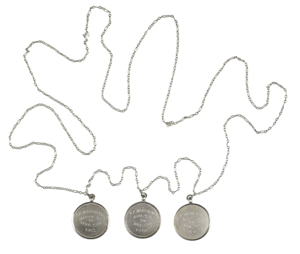 Silver chain-necklace commemorating the imprisonment of the suffragette Kitty Marshall: c.1913