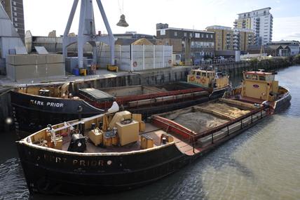 Barges moored on the Thames at Deptford Creek; 2009