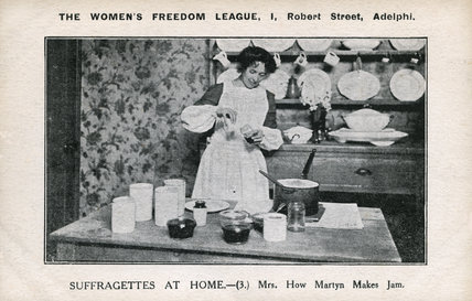 Mrs How Martyn Making Jam, propaganda postcard; 1910
