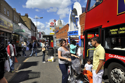 People getting on a London bus in Peckham; 2009