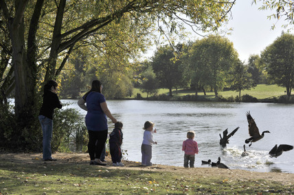 Children feeding the ducks in Danson Park; 2009