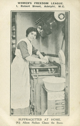 Alison Neilans Cleans the Stove; 1910