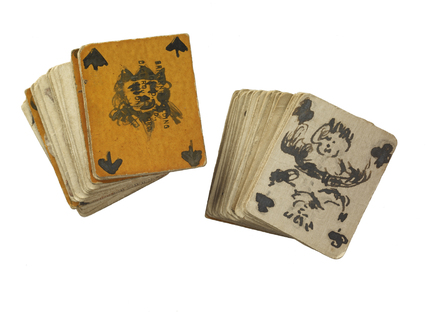 Playing cards made in Holloway Gaol by the suffragette prisoner Mrs Kitty Marshall: c.1911