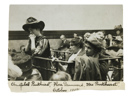 Mrs Christabel Pankhurst and Flora Drummond in court: 1908