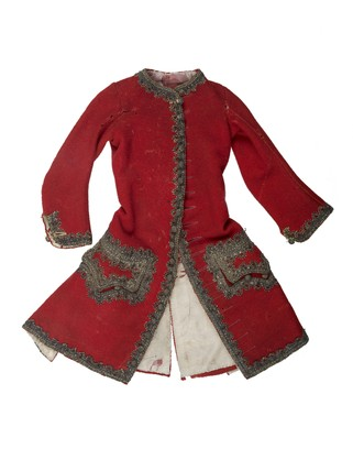 Red woollen sleeved waistcoat for artist's lay figure: 18th century