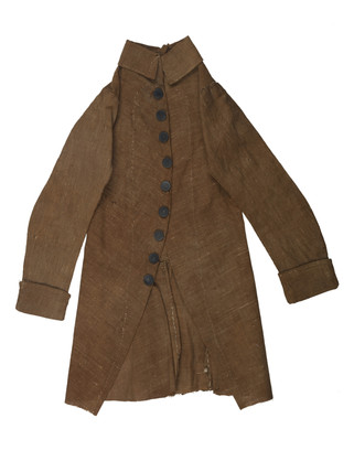 Brown cotton frockcoat with metal buttons for artist's lay figure: 18th century