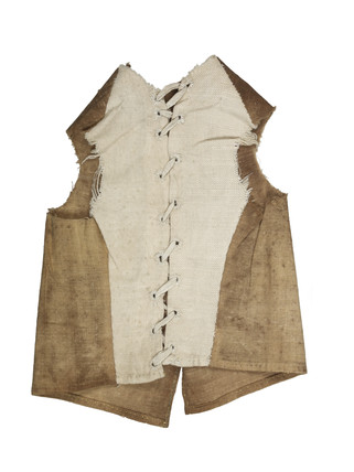 Cotton waistcoat with fustian back for artist's lay figure: 18th century