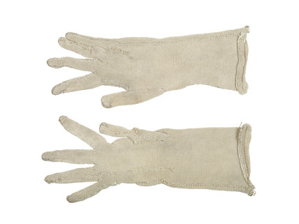 Pair of knitted silk gloves for artist's lay figure: 18th century