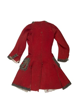 Red woollen sleeved waistcoat for Wig for artist's lay figure: 18th century