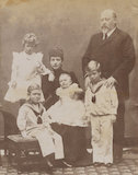 King Edward VII and Queen Alexandra with the four children of the Duke and Duchess of Cornwall & York