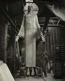 Jacob Epstein with his 'Christ in Majesty'