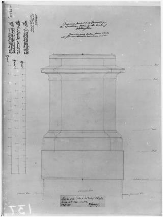 Sketch of pedestal for Statue of the Duke of Wellington