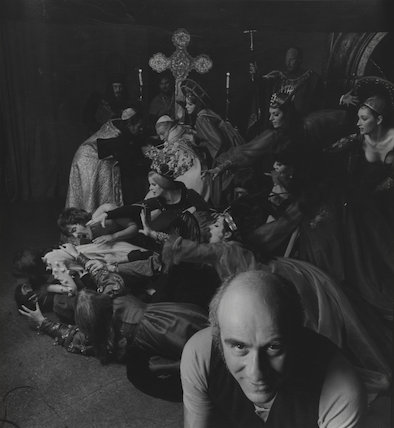 The Council of Love (Warren Mitchell as 'Satan'; Imogen Claire as 'Lucretia Borgia'; and sixteen cast members)