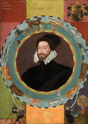 Double-sided Emblematic Portrait of Sir Christopher Hatton, ascribed to workshop of William Segar, c.1580 (Northampton Borough Council, Northampton Museum and Art Gallery) in connection with 'Elizabeth I & Her People', 10 October 2013 - 5 January 2014