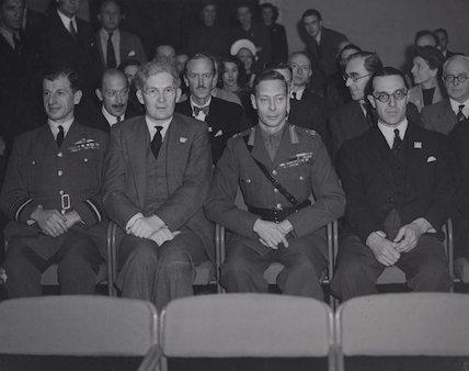 Charles, 1st Viscount Portal; Brendan, Viscount Bracken; King George VI; Walter, 1st Viscount Monckton