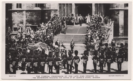 'The Funeral Procession of the Late King Edward VII. The Archbishops Receiving the Coffin at St George's Chapel, Windsor.'