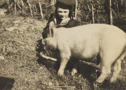 (Karin) Judith Henderson (née Stephen) and pig 'Celestino'