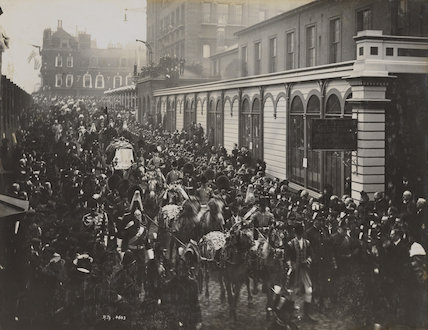 Queen Victoria's funeral procession entering Paddington Station