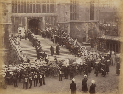 Queen Victoria's funeral procession arriving at St George's Chapel, Windsor