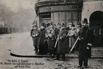 Winston Churchill at the 'Battle of Stepney'