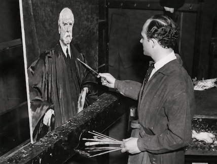 Simon Elwes painting with his portrait of Charles Evans Hughes