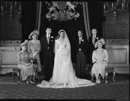George Lascelles, 7th Earl of Harewood with his wife, Marion, Mary, Princess Royal, King George VI, Hon. Gerard Lascelles and Queen Elizabeth, the Queen Mother